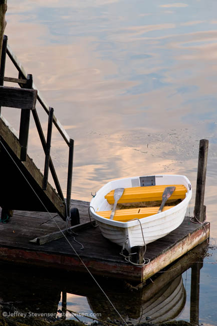 Rowboat on a dock in Port Clyde Harbor, Maine