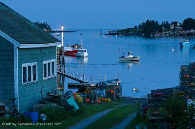 Marshall Point Light House And Port Clyde Harbor, Dusk