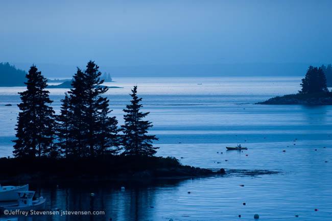 Twilight Rainstorm And Kayaker, Port Clyde Harbor, Maine