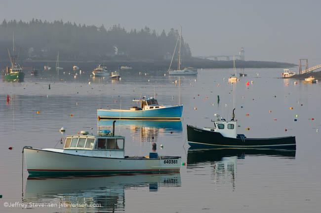 Sun Through The Fog, Port Clyde Harbor And Marshall Point Light