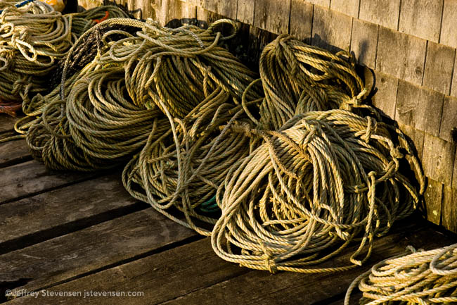 Rope on the dock in late sun, Port Clyde, Maine