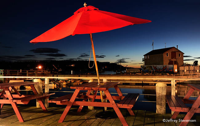 Umbrella and Picnic Table, Port Clyde General Store, Dusk, Port Clyde, Maine