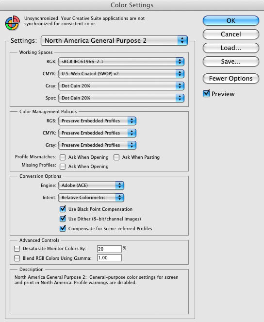 Adobe CS4 Color Settings Dialog Box